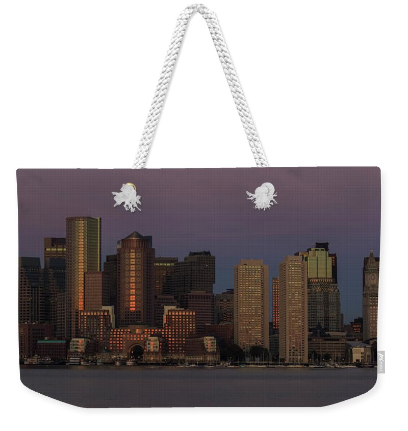 Boston Weekender Tote Bag featuring the photograph Boston Moonset And Sunrise by Rob Davies