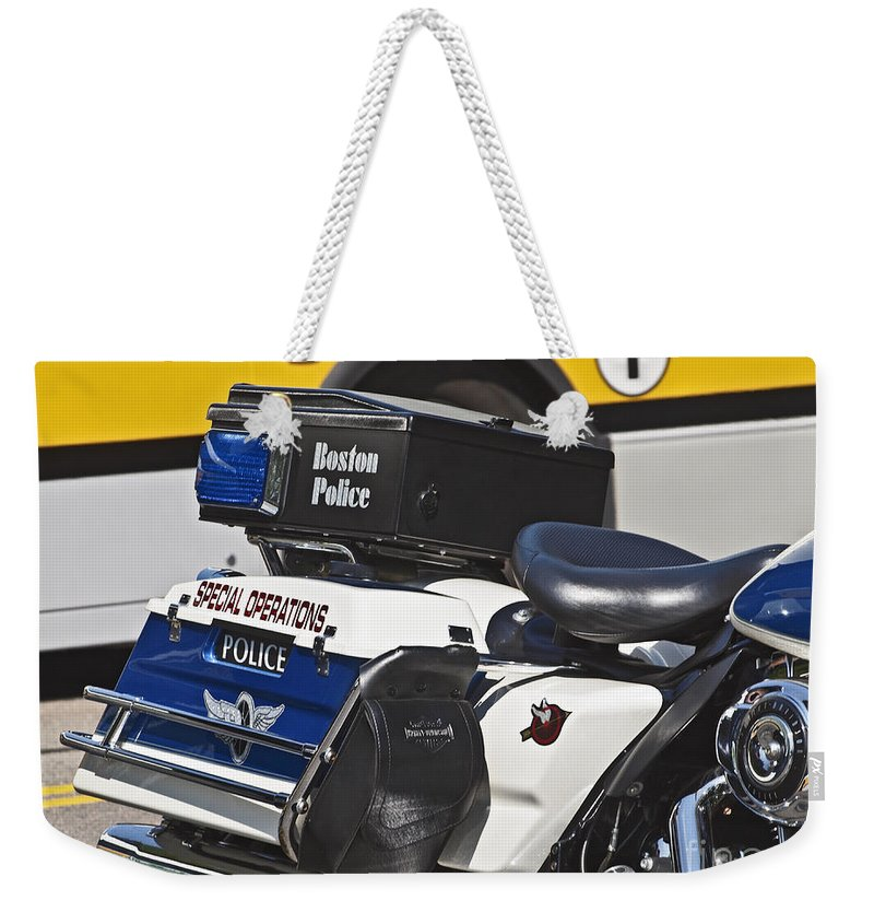 America Weekender Tote Bag featuring the photograph Boston Police Bos2015_178 by Howard Stapleton