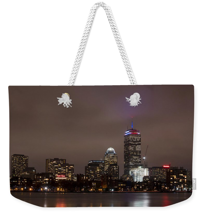 Boston Weekender Tote Bag featuring the photograph Boston Skyline In Red, White And Blue Boston Massachusetts by Toby McGuire