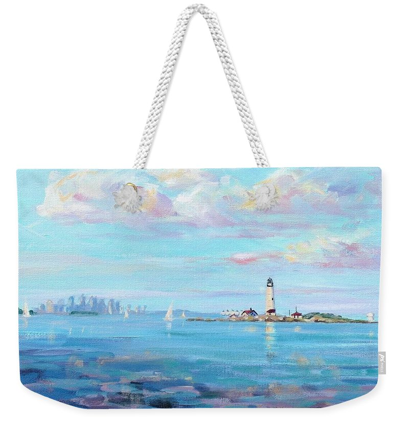 Seascape Weekender Tote Bag featuring the painting Boston Skyline by Laura Lee Zanghetti