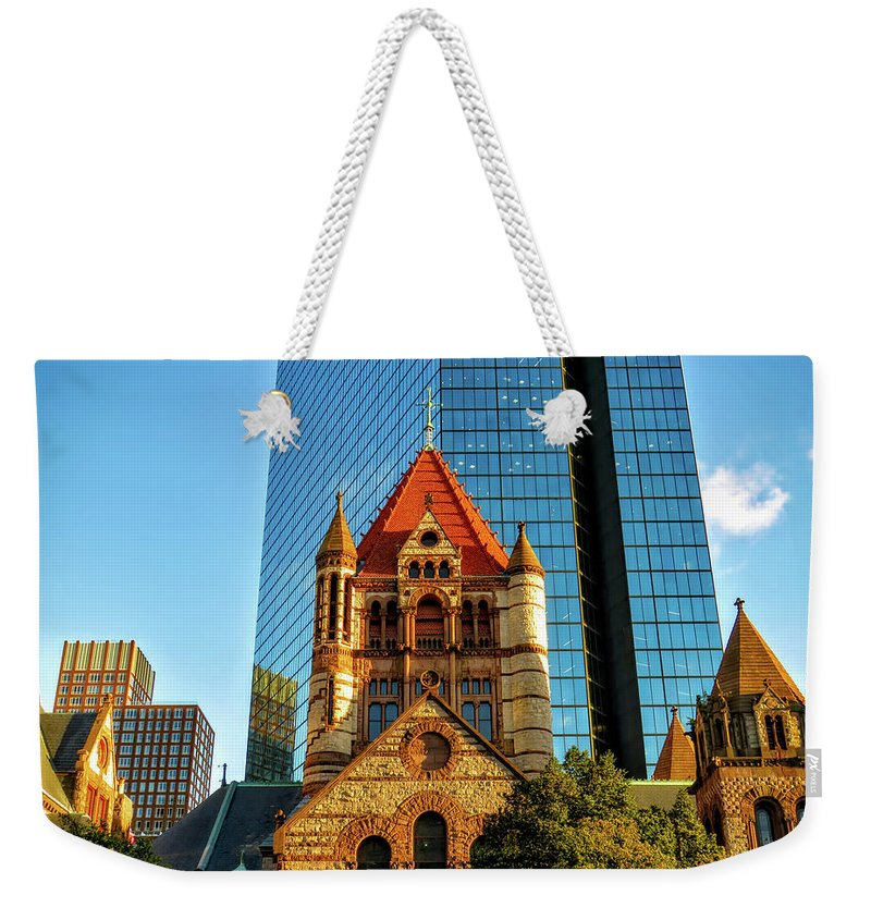 Boston Weekender Tote Bag featuring the photograph Boston's Trinity Church by Chris Greenhow