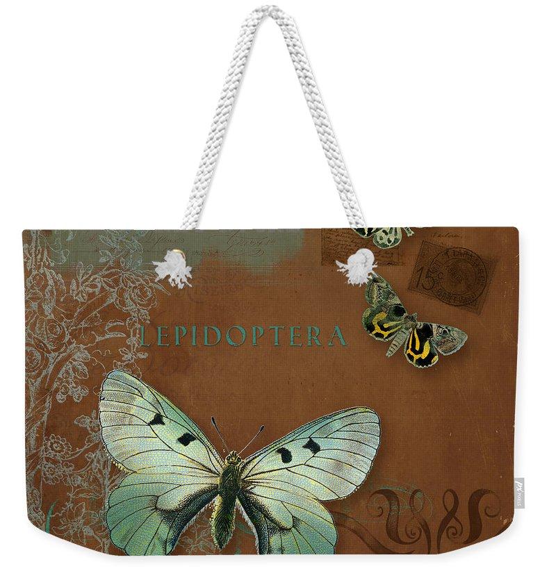 Wildflower Etchings Weekender Tote Bag featuring the painting Botanica  Vintage Butterflies N Moths Collage 4 by 5af6588b73450