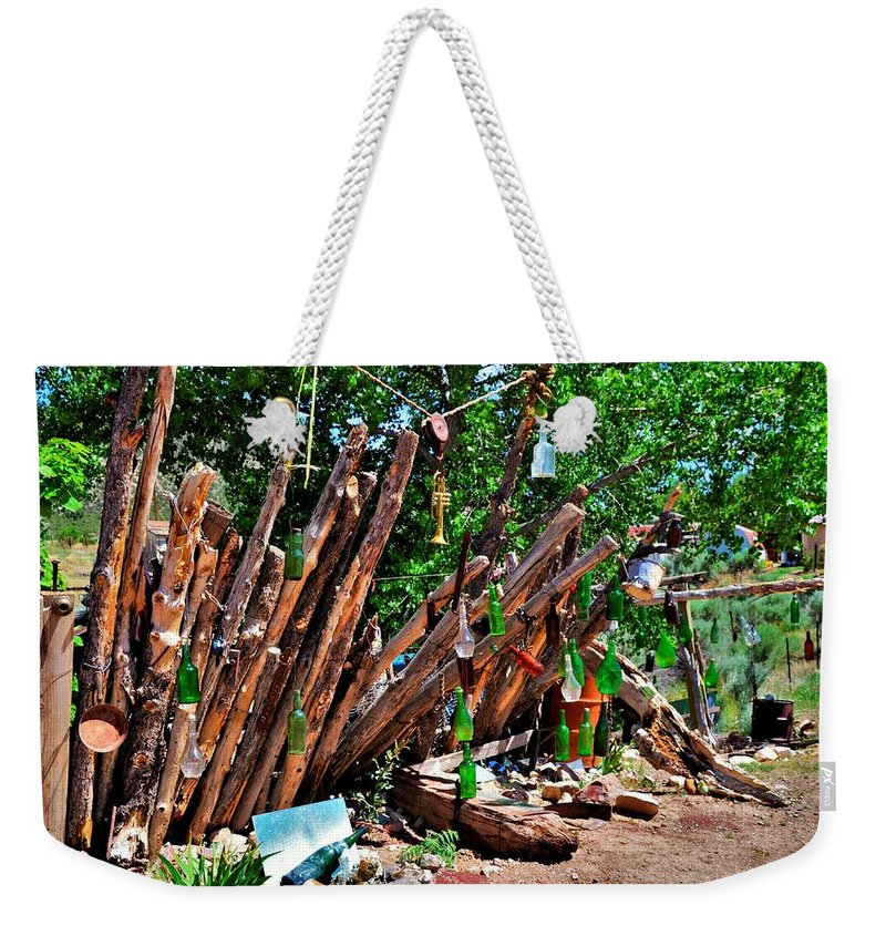 Fence Weekender Tote Bag featuring the photograph Bottle Fence In Golden New Mexico by Dwight Eddington
