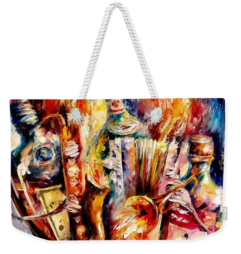Bottle Jazz Weekender Tote Bag featuring the painting Bottle Jazz by Leonid Afremov