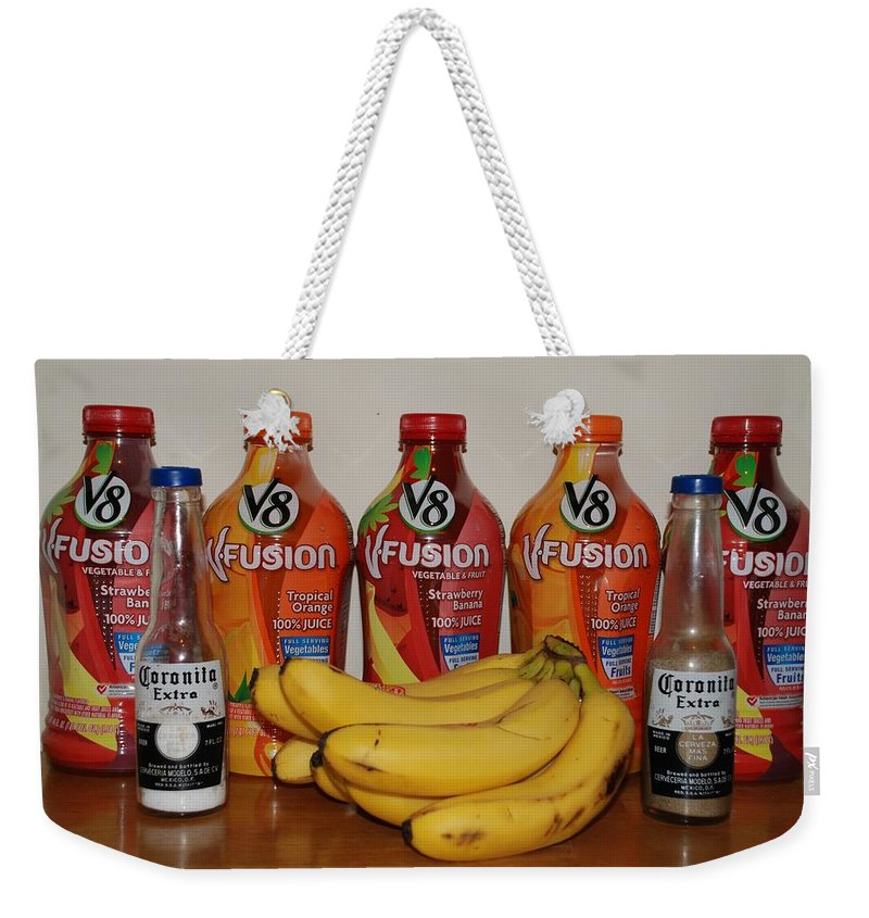 V8 Weekender Tote Bag featuring the photograph Bottles N Bananas by Rob Hans
