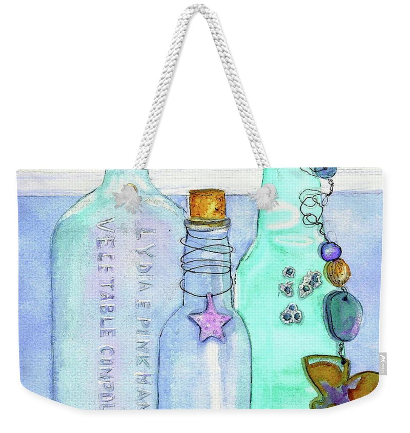 Bottles Weekender Tote Bag featuring the painting Bottles with Barnacles by Midge Pippel