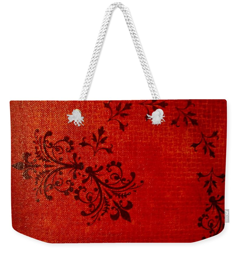 Red Weekender Tote Bag featuring the painting Boudoir One by Laurette Escobar