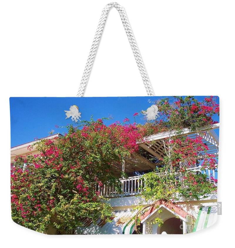 Flowers Weekender Tote Bag featuring the photograph Bougainvillea Villa by Debbi Granruth