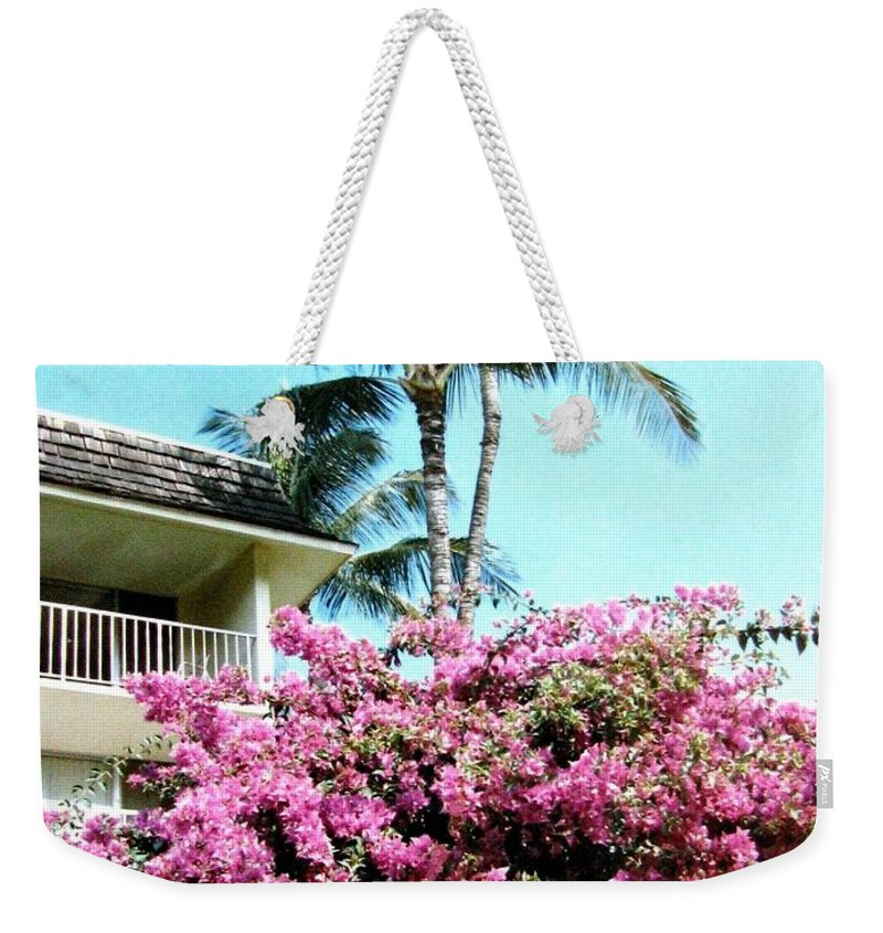 1986 Weekender Tote Bag featuring the photograph Bougainvillea by Will Borden