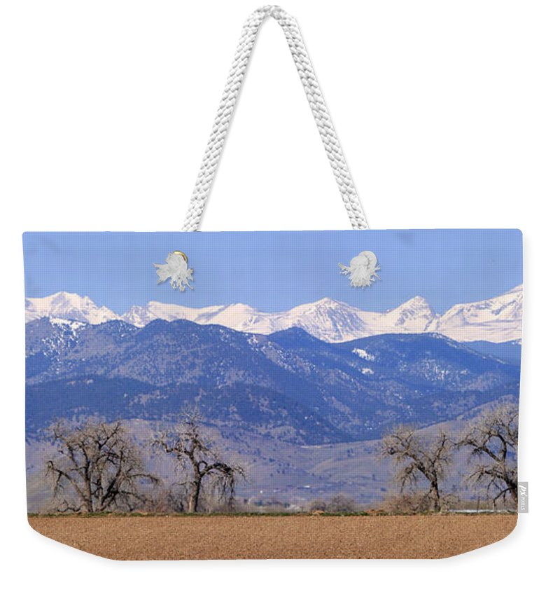 Boulder Weekender Tote Bag featuring the photograph Boulder County Colorado Panorama by James BO Insogna