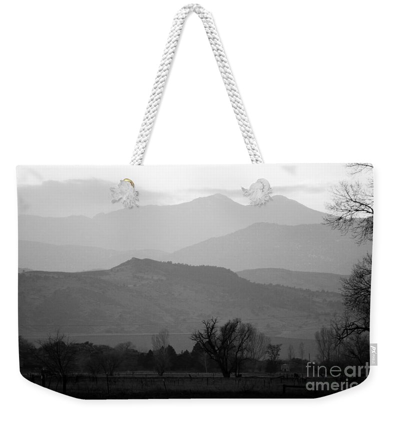 Foothills Weekender Tote Bag featuring the photograph Boulder County Foothills To The Rockies Bw by James BO Insogna