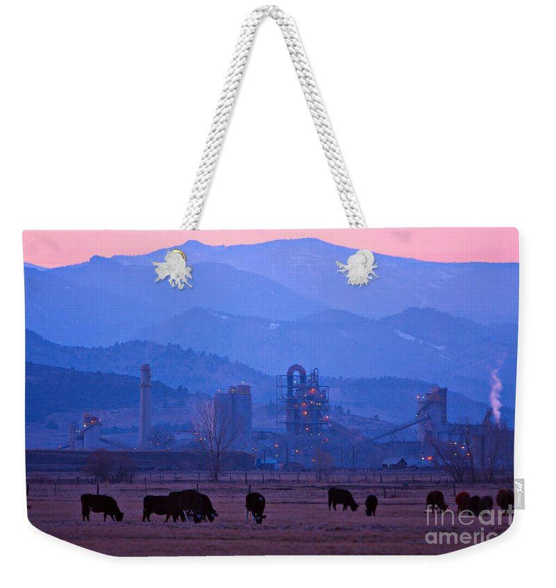 Boulder Weekender Tote Bag featuring the photograph Boulder County Industry Meets Country by James BO Insogna