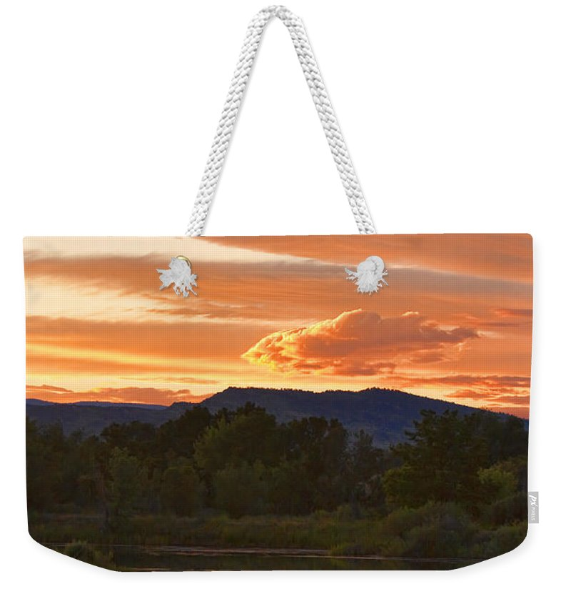 nature Photography Weekender Tote Bag featuring the photograph Boulder County Lake Sunset Vertical Image 06.26.2010 by James BO Insogna