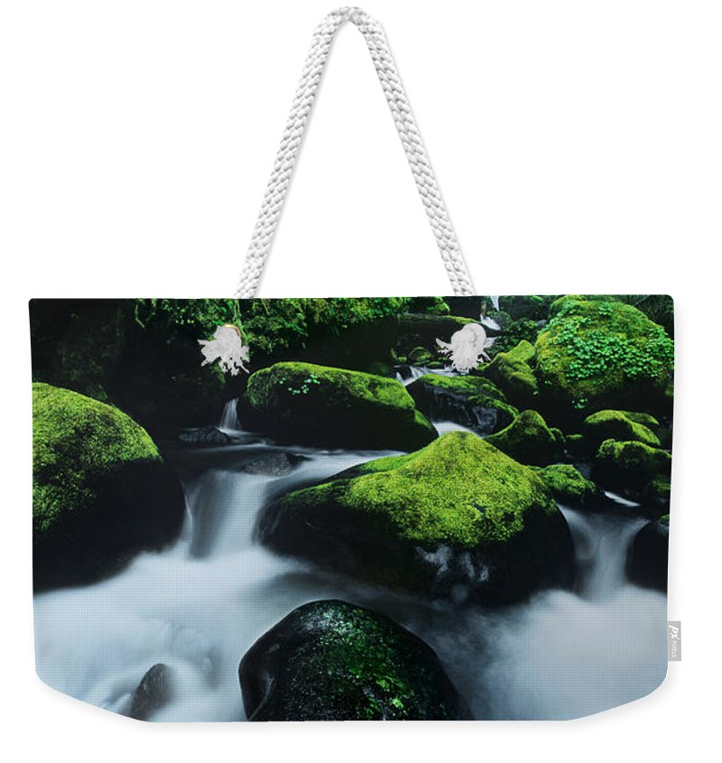 Columbia River Gorge Weekender Tote Bag featuring the photograph Boulder Elowah Falls Columbia River Gorge Nsa Oregon by Dave Welling