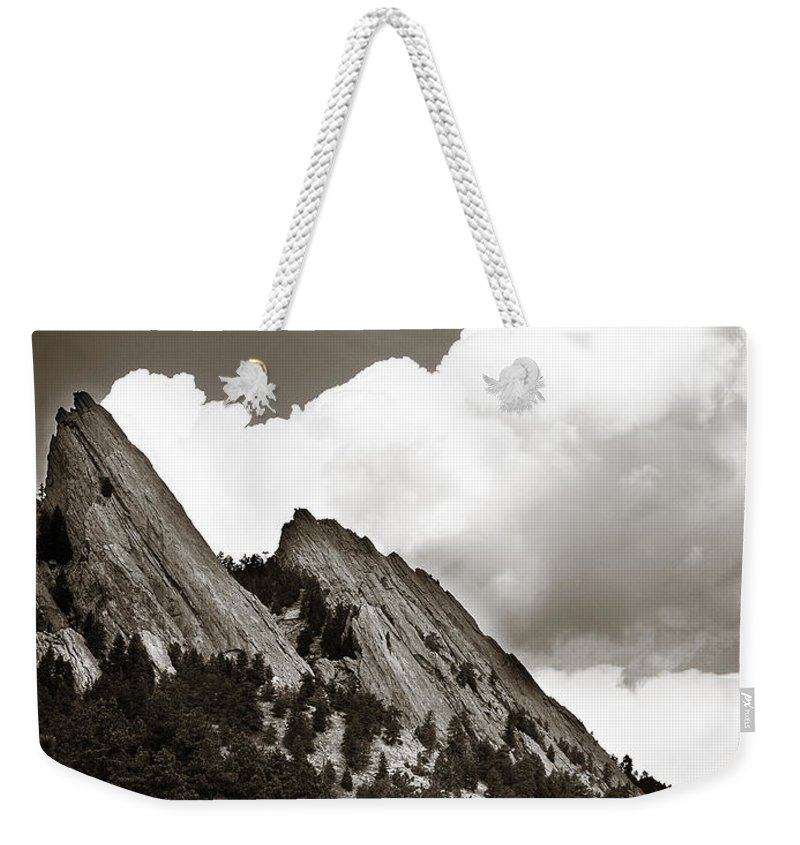 Flatirons Weekender Tote Bag featuring the photograph Large Cloud Over Flatirons by Marilyn Hunt