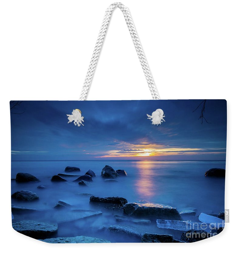 Boulder Weekender Tote Bag featuring the photograph Boulder Point Sunrise by Randy Kostichka