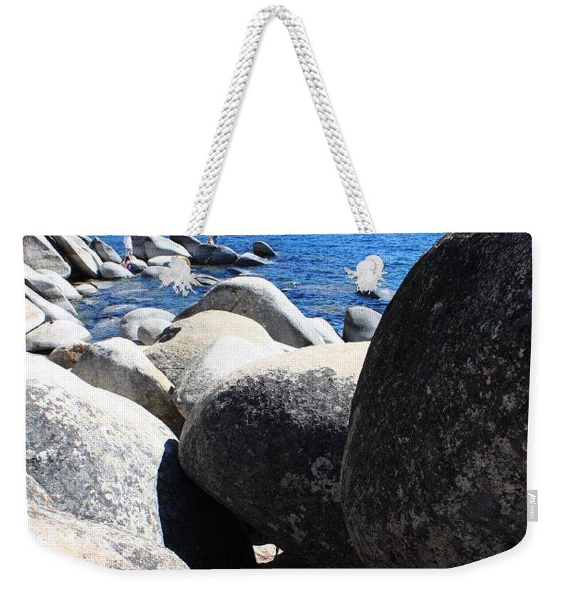 Boulders Weekender Tote Bag featuring the photograph Boulders On Lake Tahoe by Carol Groenen