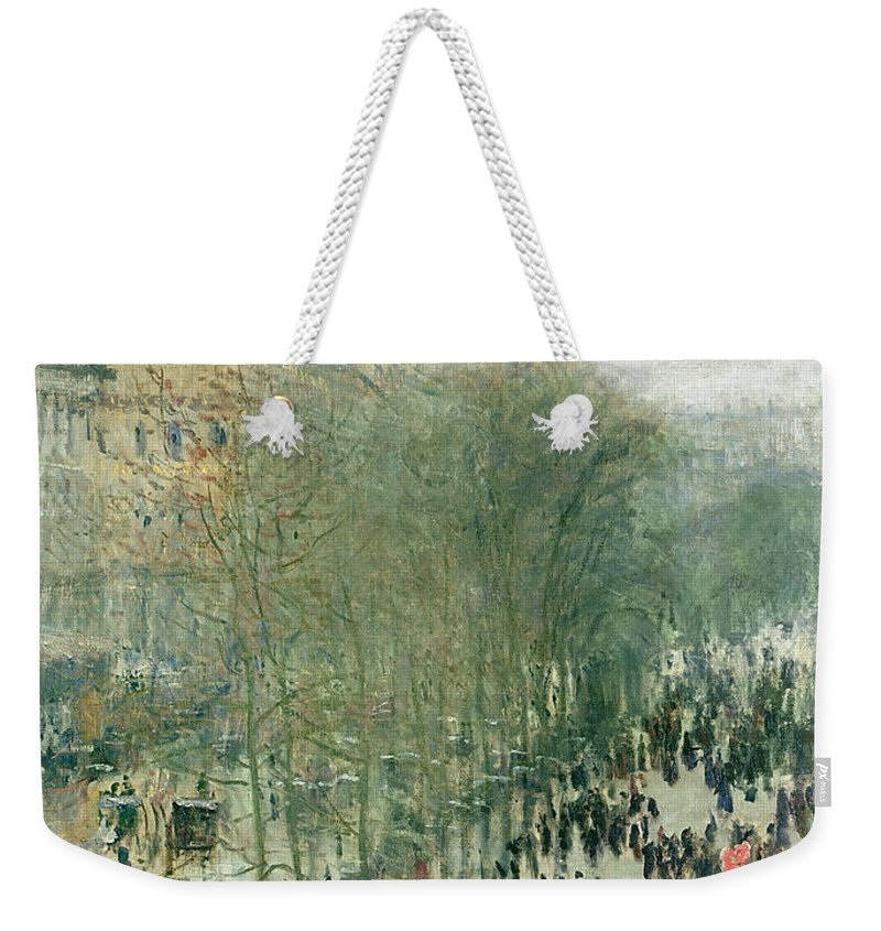Boulevard Weekender Tote Bag featuring the painting Boulevard Des Capucines by Claude Monet