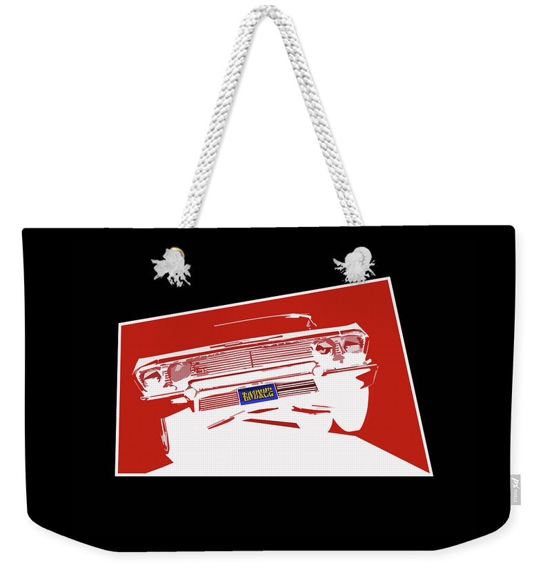 Lowrider Weekender Tote Bag featuring the digital art Bounce. '63 Impala lowrider. by Colin Tresadern