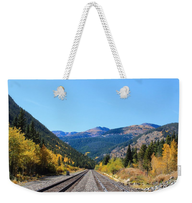 Train Tracks Weekender Tote Bag featuring the photograph Bound For Glory by Lorraine Baum