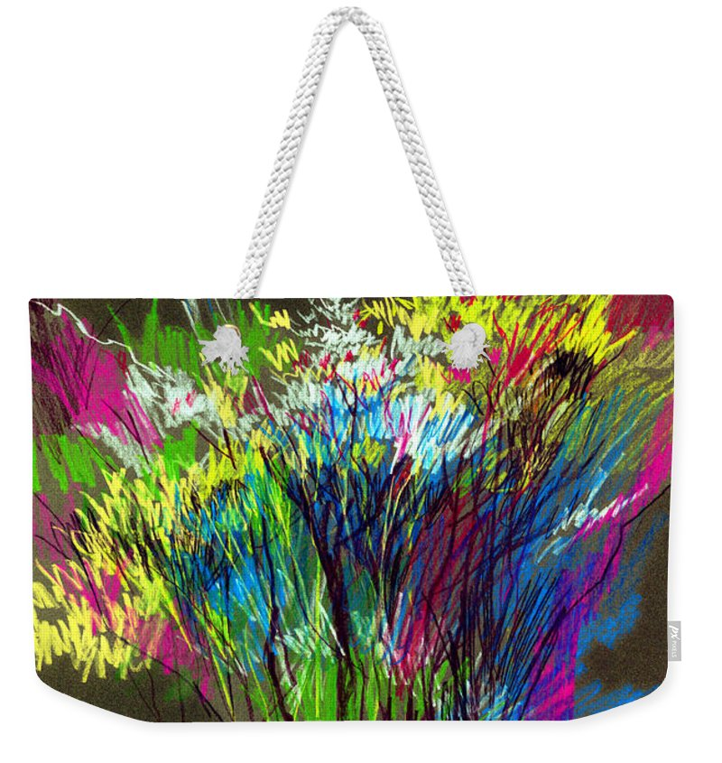 Flowers Weekender Tote Bag featuring the painting Bouquet by Anil Nene