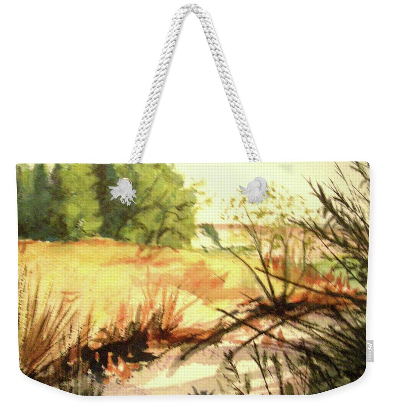 Landscape Weekender Tote Bag featuring the painting Bouquet Canyon Wash 2 by Olga Kaczmar