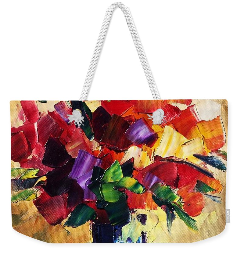 Afremov Weekender Tote Bag featuring the painting Bouquet For Sweeheart by Leonid Afremov