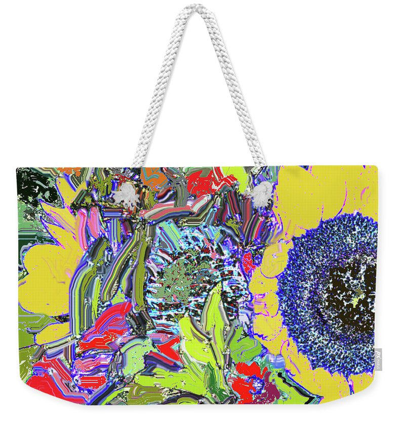 Flowers Weekender Tote Bag featuring the digital art Bouquet In Yellow And Red by Ian MacDonald