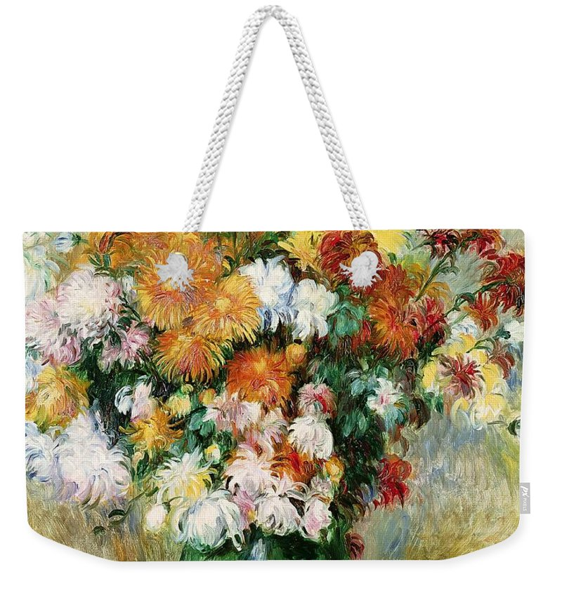 Bouquet Weekender Tote Bag featuring the painting Bouquet Of Chrysanthemums by Pierre Auguste Renoir