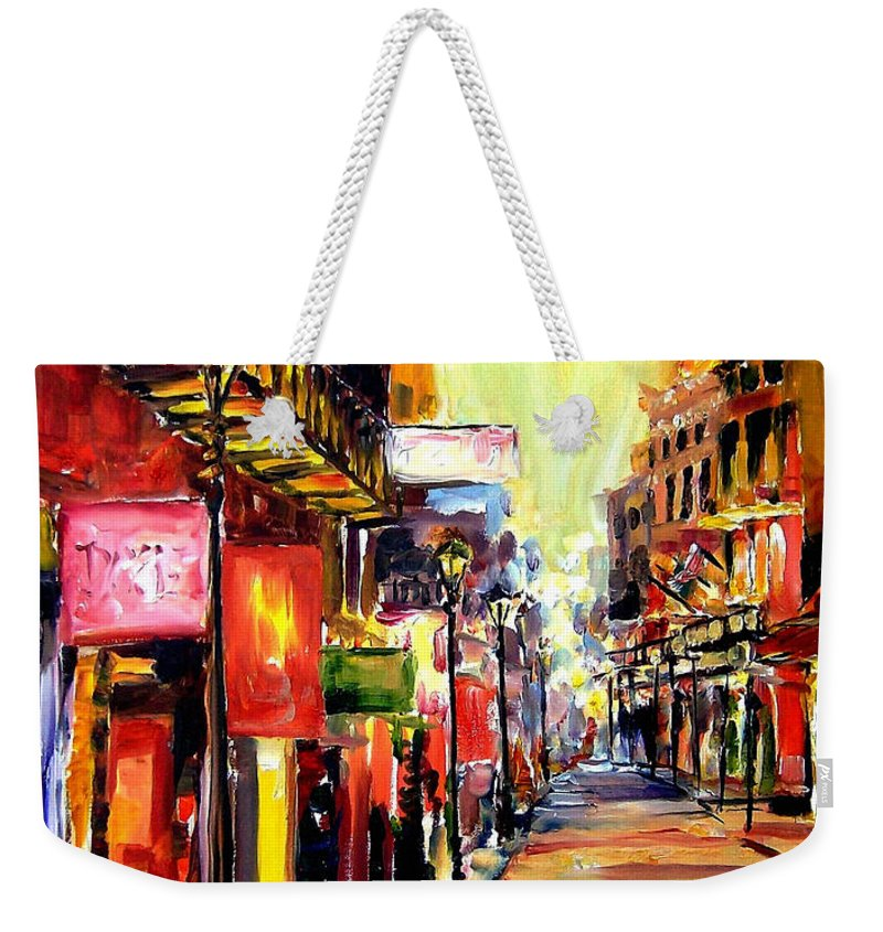 New Orleans Weekender Tote Bag featuring the painting Bourbon Street Dazzle by Diane Millsap