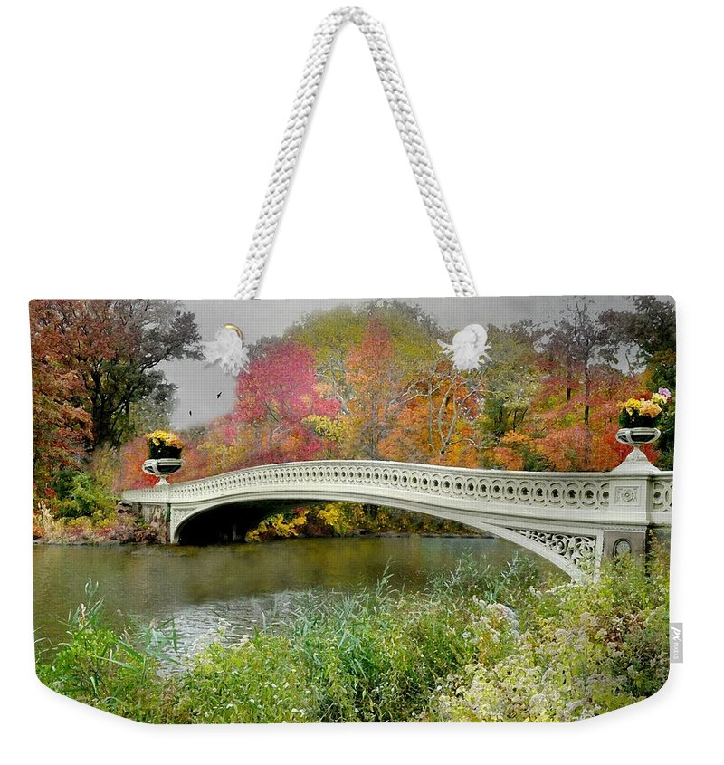 Landscape Weekender Tote Bag featuring the photograph Bow's Bridge by Diana Angstadt