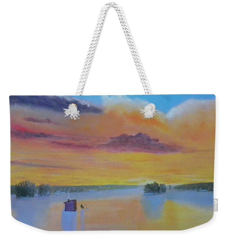 Sunrise Lake Ice Snow Fishing Clouds Shack Reflections Weekender Tote Bag featuring the painting Bow Lake Ice Fishing by Scott W White