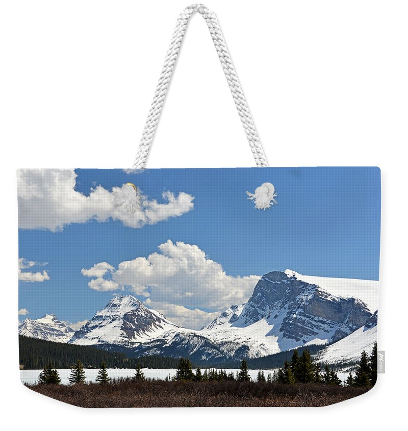 Bow Lake Weekender Tote Bag featuring the photograph Bow Lake Vista by Ginny Barklow