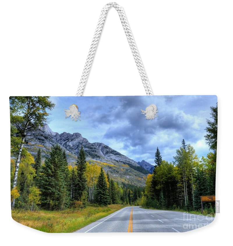 Bow Valley Parkway Weekender Tote Bag featuring the photograph Bow Valley Parkway Banff National Park Alberta Canada Vi by Wayne Moran