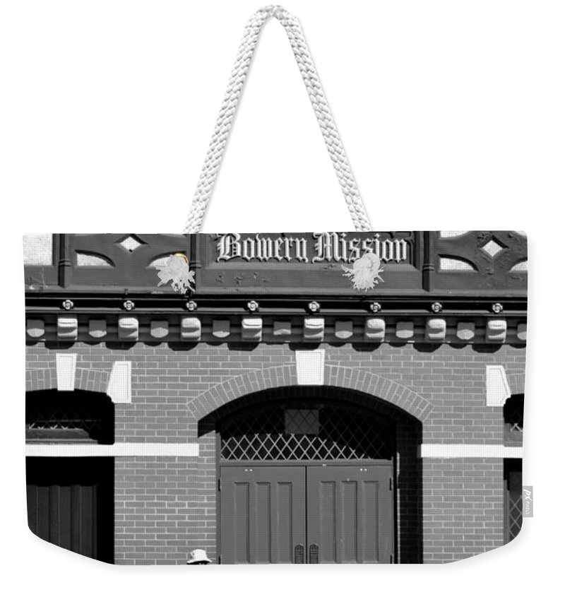 Bowery Weekender Tote Bag featuring the photograph Bowery Mission by Robert Scifo