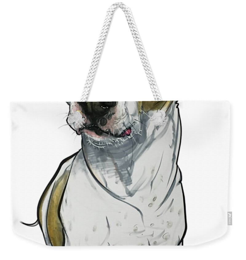 Pet Portrait Weekender Tote Bag featuring the drawing Bowie 3374 1 by John LaFree