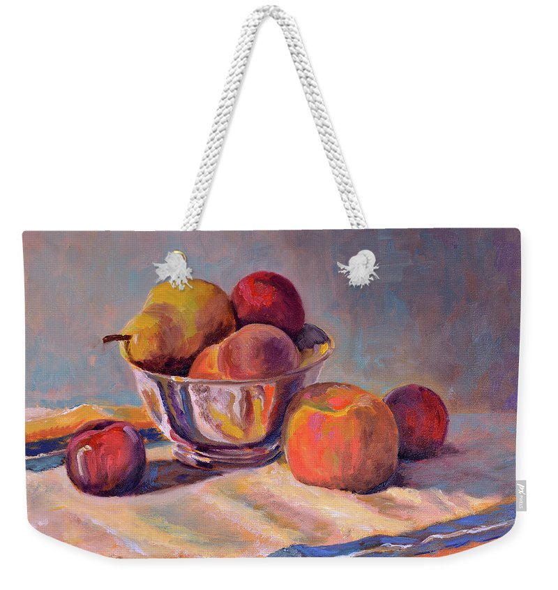 Still Weekender Tote Bag featuring the painting Bowl With Fruit by Keith Burgess