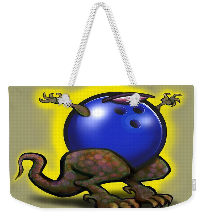 Bowl Weekender Tote Bag featuring the digital art Bowling Beast by Kevin Middleton