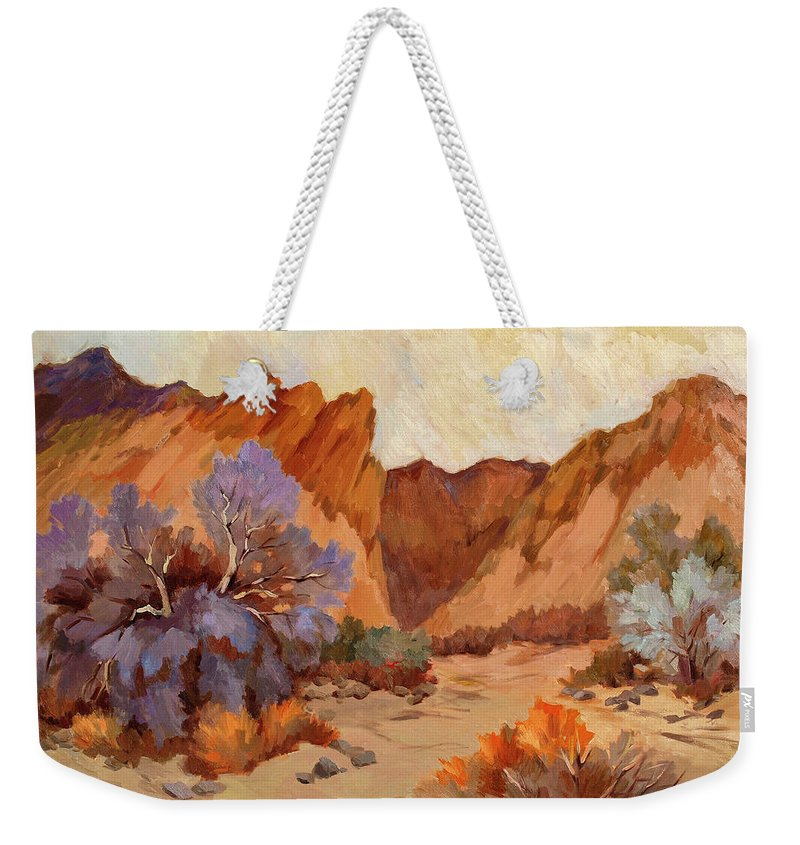 Box Canyon Weekender Tote Bag featuring the painting Box Canyon by Diane McClary