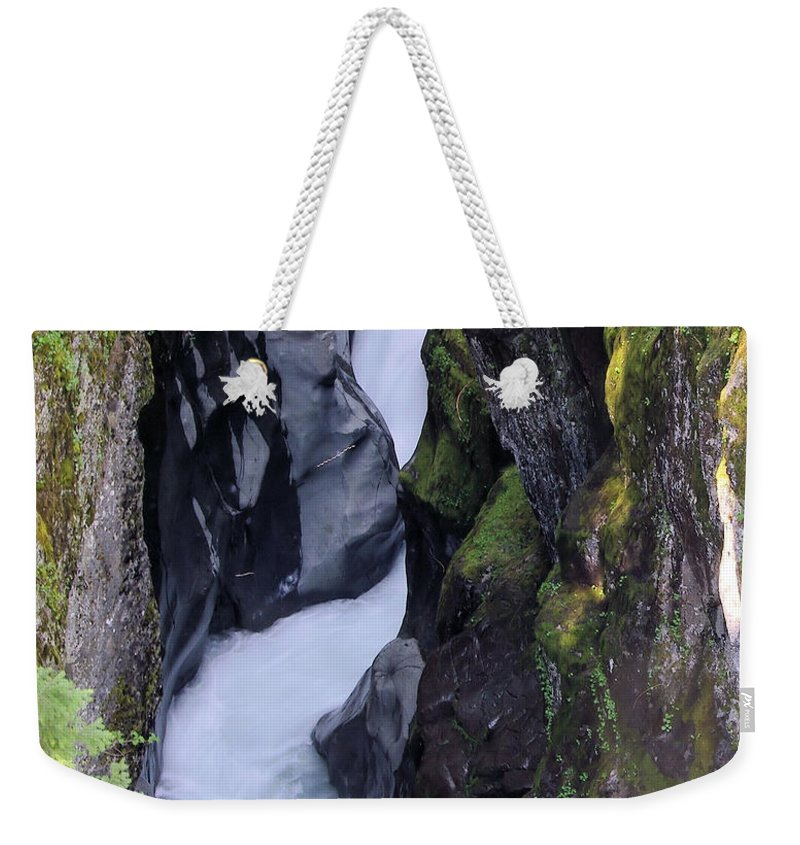 Mt Rainier National Part. Water Weekender Tote Bag featuring the photograph Box Canyon by Jeff Swan
