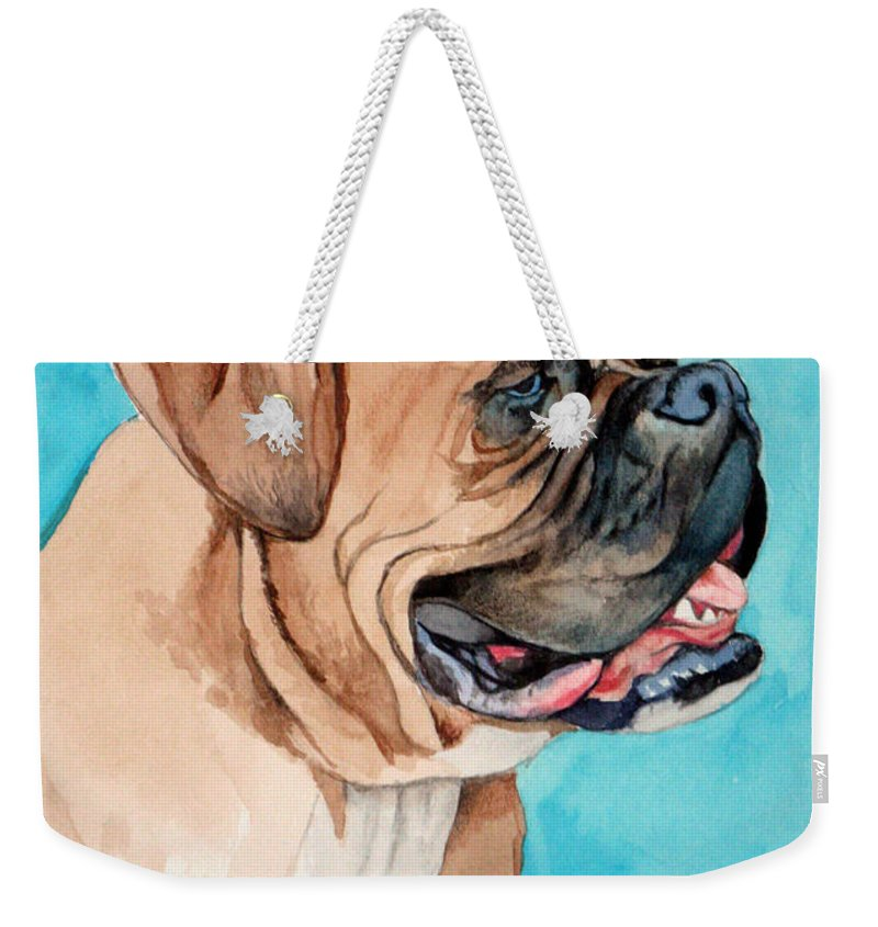 Boxer Weekender Tote Bag featuring the painting Boxer by Christopher Shellhammer