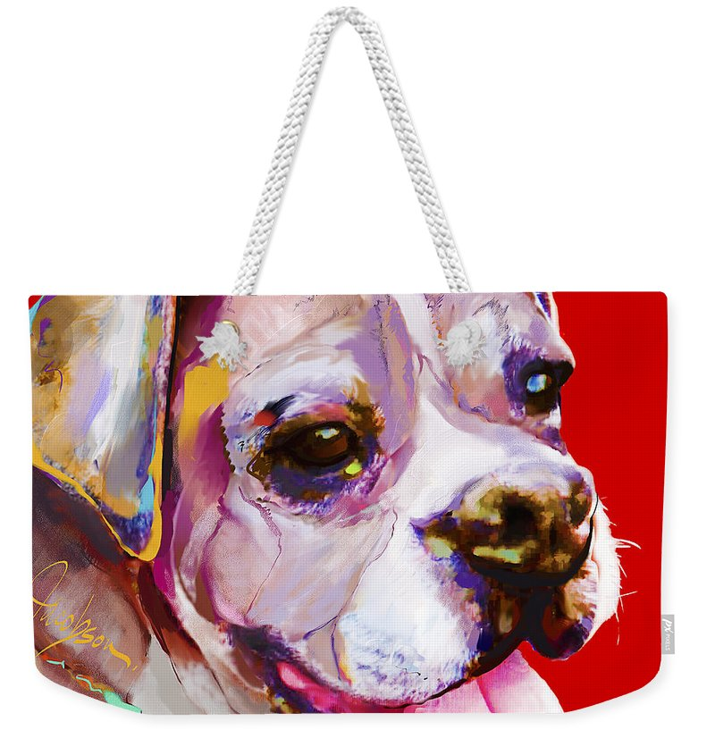 Boxer Weekender Tote Bag featuring the painting Boxer Dog by Jackie Jacobson