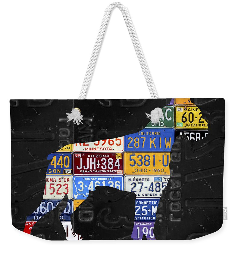 Boxer Weekender Tote Bag featuring the mixed media Boxer Dog Pet Owner Love Vintage Recycled License Plate Artwork by Design Turnpike