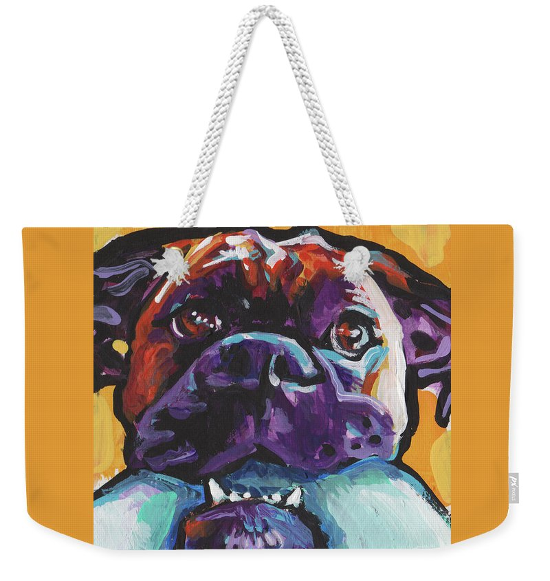 Boxer Weekender Tote Bag featuring the painting Boxy Boxer by Lea