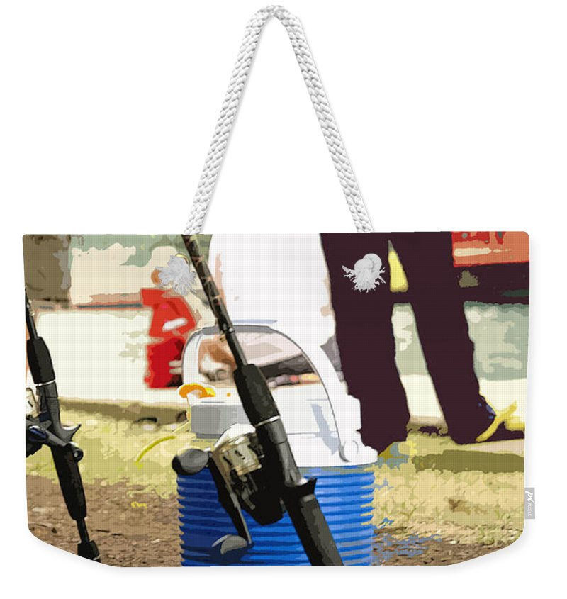 River Weekender Tote Bag featuring the photograph Boy And His Dad by David Bearden