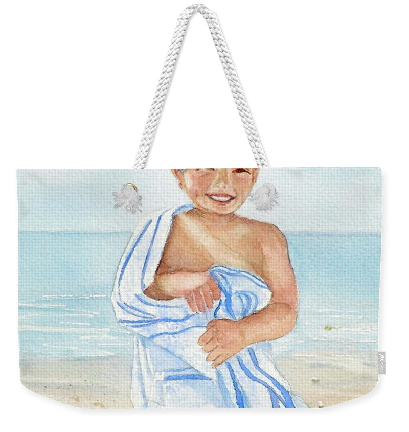 Boy Weekender Tote Bag featuring the painting Boy At The Beach by Midge Pippel