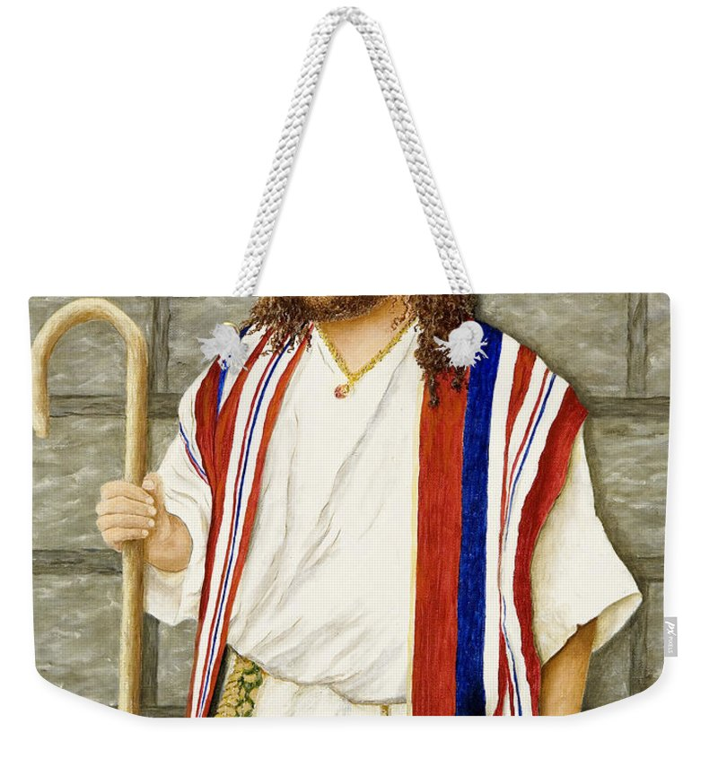 Portrait Painting Weekender Tote Bag featuring the painting Boy David by Mary Ann King