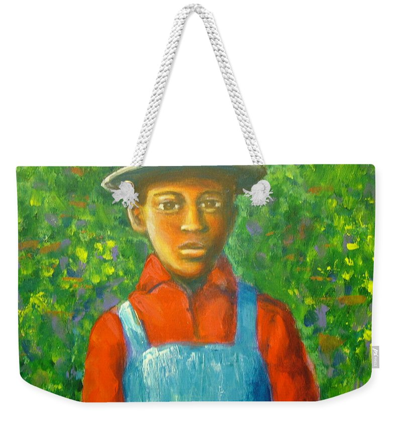 Painting Weekender Tote Bag featuring the painting 'boy In The Woods' by Jan Gilmore