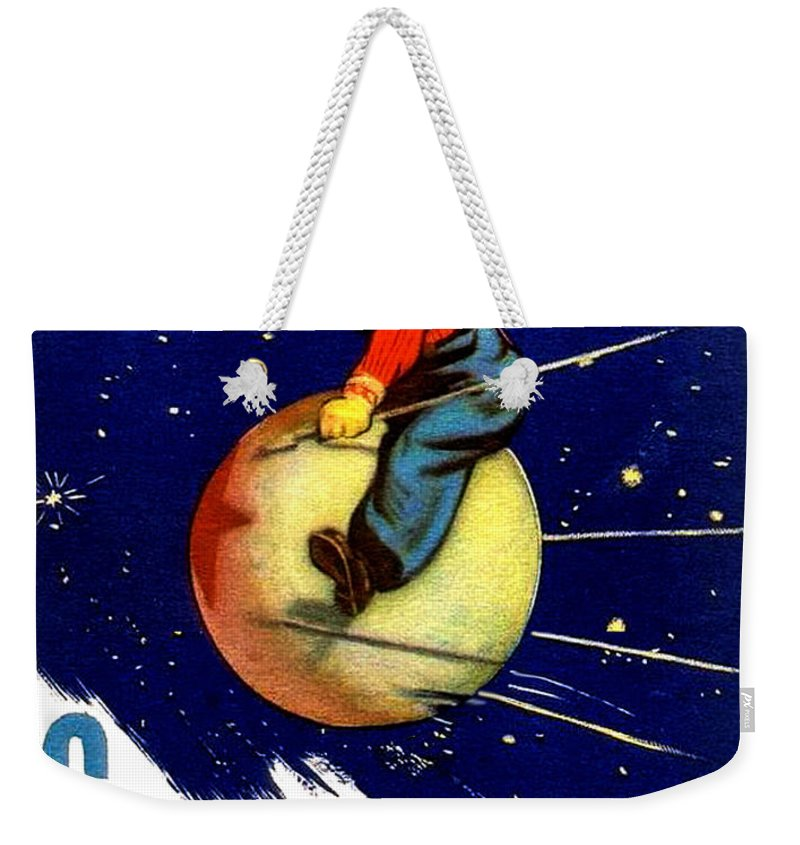 Boy Weekender Tote Bag featuring the digital art Boy Is Riding Russian Satellite by Long Shot