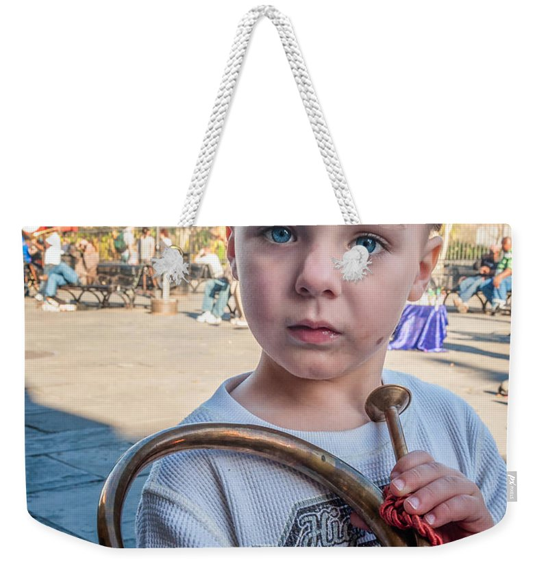 Boy Weekender Tote Bag featuring the photograph Boy With A Horn _ Nola by Kathleen K Parker